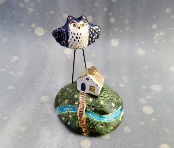 Owl and House Ceramic Figurine with Gold Luster