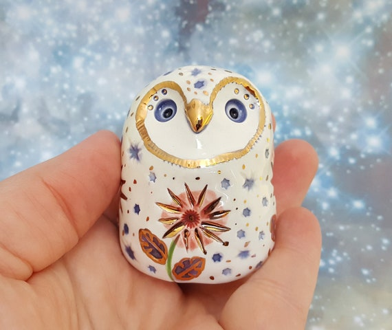 Ceramic Owl White with Red Flowers