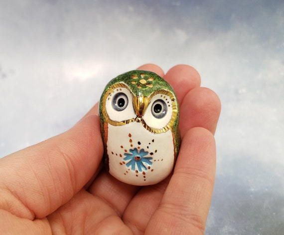Green Owl Ceramic Sculpture with Gold Luster Flowers