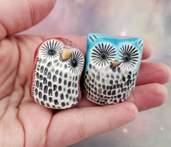 Ceramic Owls in Red and Blue