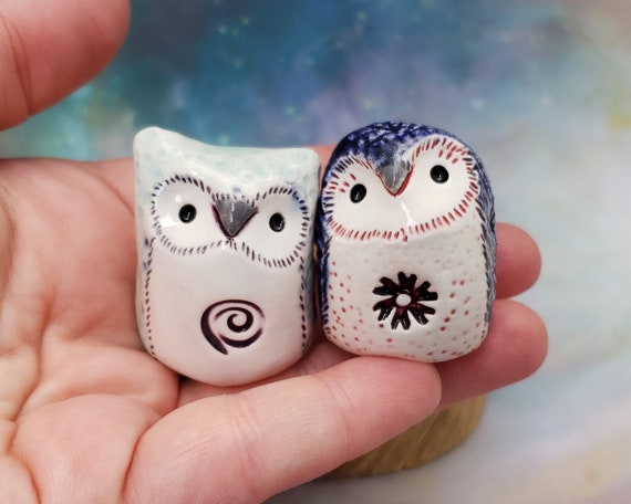Pair of Ceramic Owls Blue and Mint Green