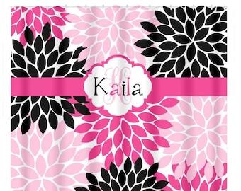 Hot Pink Black SHOWER CURTAIN, Girl Name, Flower Bathroom, Custom MONOGRAM  Personalized,