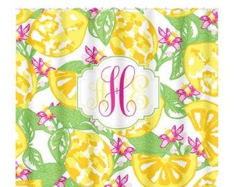 Lemon SHOWER CURTAIN Lilly Hibiscus Flower Custom MONOGRAM Personalized Girl Sister Bathroom Decor Bath Towel Plush Mat