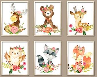 Girl Woodland Nursery Art, Watercolor Flower WOODLAND Nursery Decor, Baby Girl Woodland Nursery Wall Art, Canvas or Prints, Set of 6