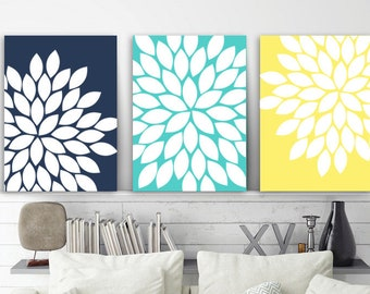 Navy Aqua Yellow WALL ART, Flower Wall Art, Floral Bedroom Pictures, CANVAS  Or