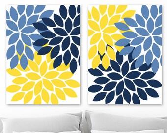 Blue Yellow Wall Art Etsy