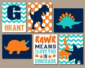 DINOSAUR WALL ART  Dinosaur Theme Decor  Canvas or Prints  Rawr Means I Love You  Baby Nursery Decor  Big Boy Bedroom Wall Decor  Set of 6