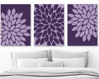 Great PURPLE Wall Art, Purple Bedroom Wall Decor, CANVAS Or Prints, Purple  BATHROOM Decor, Purple Flower Wall Art, Set Of 3, Purple Home Decor