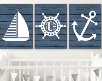 Nautical Nursery Art, Nautical Wall Decor, Anchor Sailboat CANVAS or Print, Nautical Bathroom, Monogram Boy Nautical Nursery Decor, Set of 3