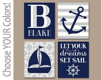 NAUTICAL Nursery Decor, NAUTICAL Wall Art, CANVAS or Prints, Baby Boy Nursery Decor, Navy Gray, Sailboat Anchor, Nautical Theme, Set of 4