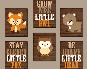 WOODLAND Nursery Art, Woodland Nursery Decor, Woodland Wall Decor, Fox Bear Owl Quotes, Wood Forest Animals, Canvas or Prints Set of 6 Art