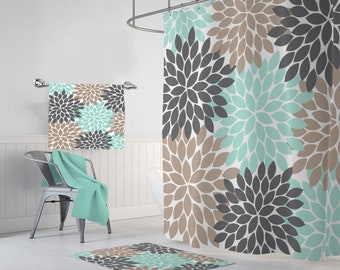 Flower SHOWER CURTAIN Bathroom Decor Aqua Brown Gray Shower Curtain MONOGRAM Personalized Bath Towel Mat Options