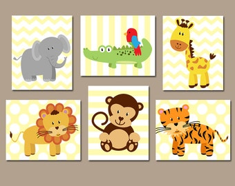Safari Jungle Wall Art CANVAS or Print Safari Theme Jungle Animals Boy Nursery Baby Boy Nursery Wall Art Set of 6 Safari Playroom Animals  sc 1 st  Etsy & Jungle nursery art | Etsy