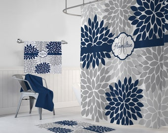 Flower Navy Gray SHOWER CURTAIN Bathroom Decor Master MONOGRAM Personalized Towel Mat Set