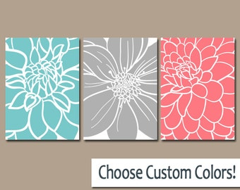 coral bedroom decor etsy rh etsy com Coral and Turquoise Bedroom Coral and Navy Blue Bedroom