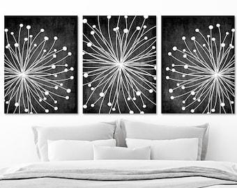 DANDELION Wall Art, CANVAS Or Prints Chalkboard Black White Bedroom Wall  Decor, Black White Bathroom Decor, Set Of 3 Black White Home Decor
