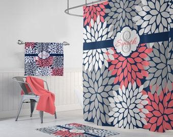 Flower Navy Coral Gray SHOWER CURTAIN Bathroom Decor Custom MONOGRAM Personalized Floral Bath Towel Plush Mat