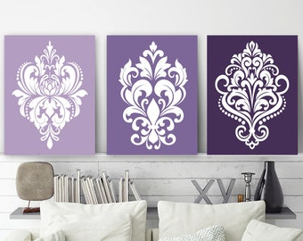 Good Purple Bedroom Decor, DAMASK Wall Art, {CANVAS Or Prints, Purple Bathroom  Decor, Purple Ombre Design Dorm Room Decor, Set Of 3, Home Decor