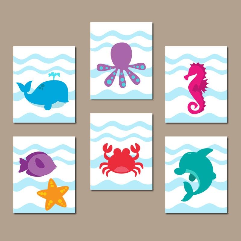 Sea Animals Bathroom Wall Art Ocean Animals Bathroom Decor