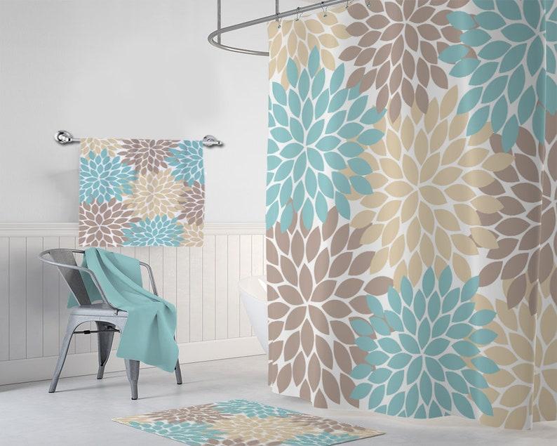 Flower SHOWER CURTAIN Set Brown Tan Aqua Bathroom Decor Girl MONOGRAM Personalized Floral Bath Towel