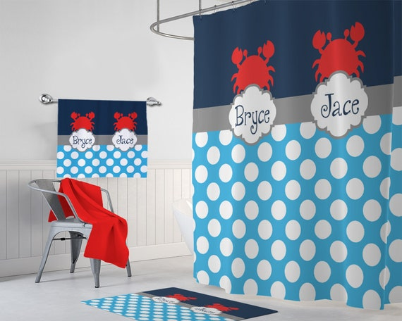 Crab SHOWER CURTAIN Set Bathroom Decor Custom Monogram