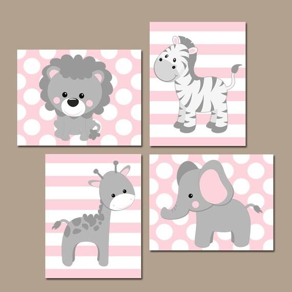 Baby Girl Nursery Wall Art Pink Gray Nursery Decor Elephant | Etsy