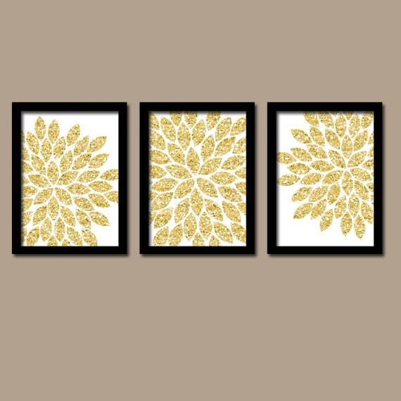 GLITTER Gold Wall Art CANVAS or Prints Faux Glitter Decor