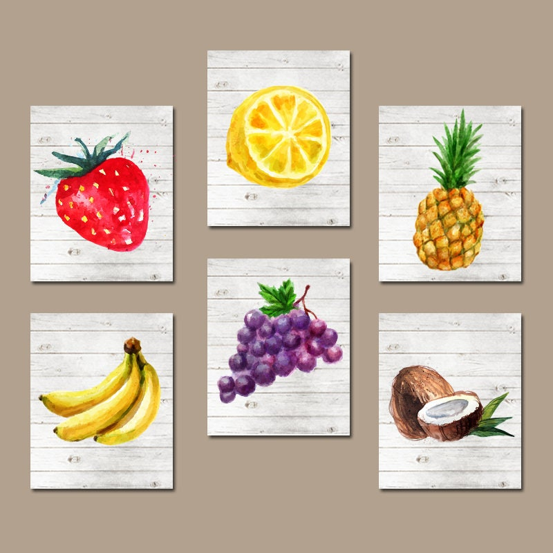 Kitchen Decor Vegetables: Watercolor Fruit Wall Art Kitchen Wall Decor Fruit