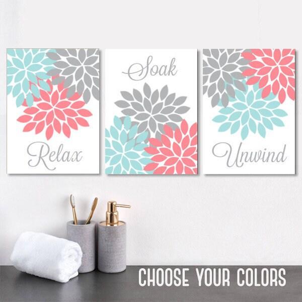 Aqua Coral Gray BATHROOM Wall Art CANVAS Or Prints Floral