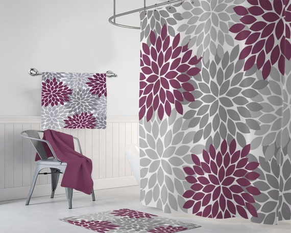 Floral Maroon Gray SHOWER CURTAIN Set Bathroom