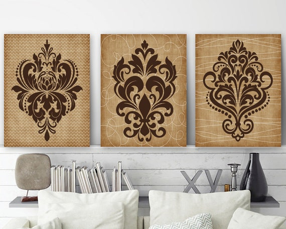 DAMASK Wall Art CANVAS Or Prints Brown Bathroom Decor Brown | Etsy