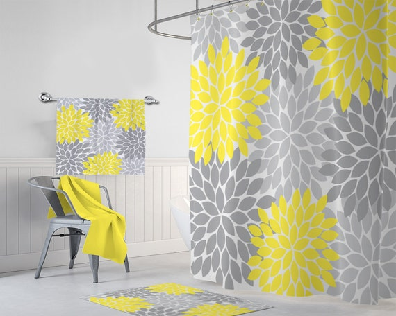 Flower SHOWER CURTAIN Yellow Gray Bathroom Decor Custom