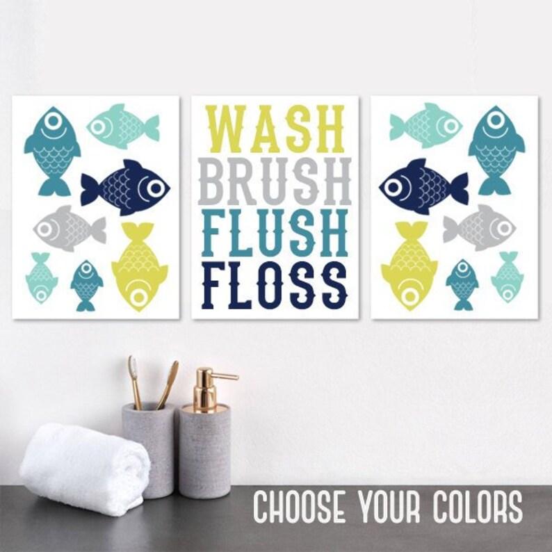 fish bathroom decor fish bathroom canvas or prints kid child etsy rh etsy com colorful fish bathroom set colorful fish bathroom set