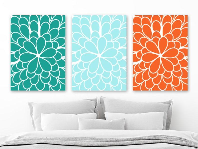 Fleur orange turquoise mur toile dart ou impression Teal | Etsy