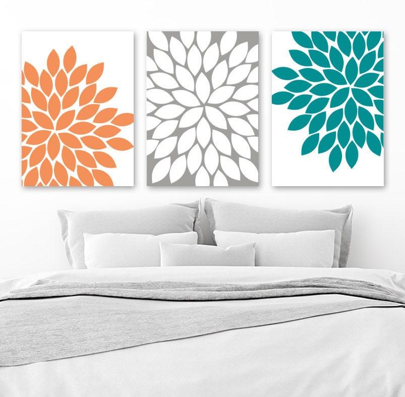 Orange Gray Teal Wall Art Canvas Or Prints Bathroom Decor