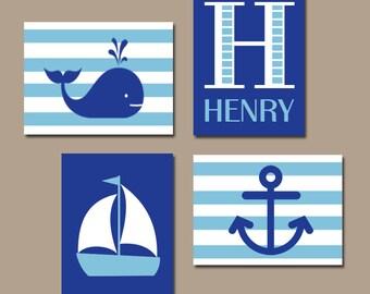 BOY Nautical Wall Art, Hampton Whale Sailboat Anchor, Baby Nursery Decor, Blue Bedroom, Nautical Theme Decor, CANVAS or Prints, Set of 4