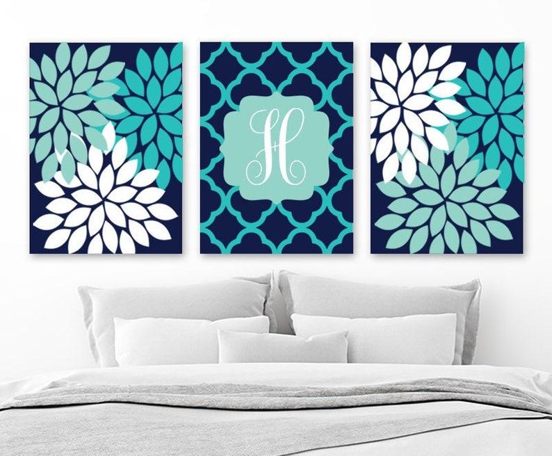 Monogram Flower Wall Art Navy Turquoise Girl Teen Monogram | Etsy