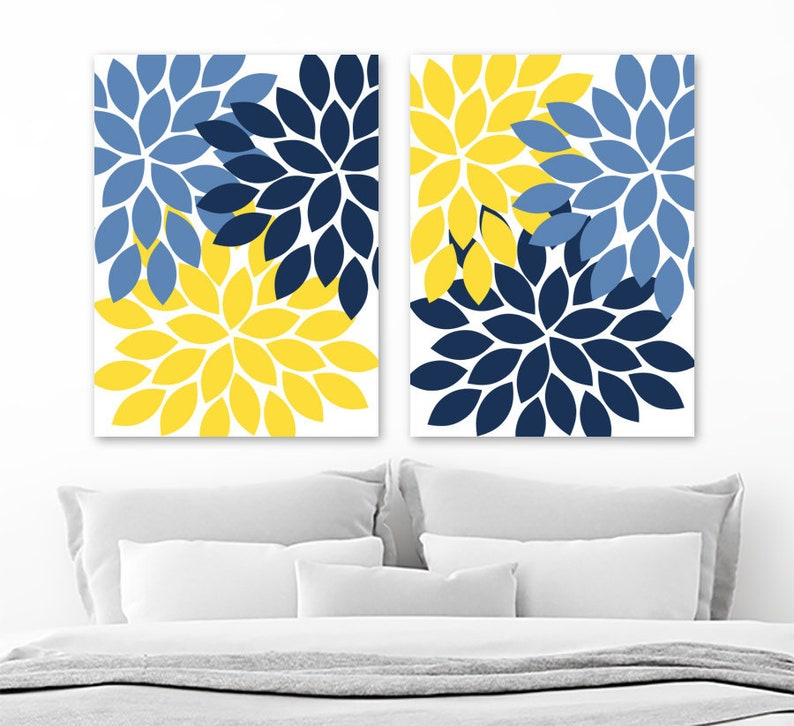 Flower Wall Art Navy Blue Yellow Flower Bedroom Wall Decor Etsy