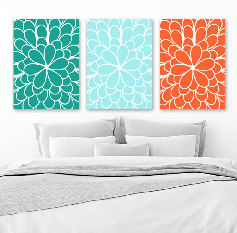 Flower Wall Art Teal Orange Bedroom CANVAS Or Print Teal