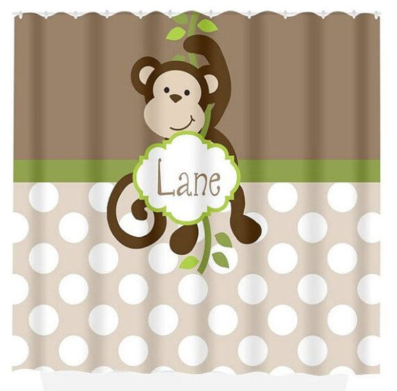 Monkey SHOWER CURTAIN Custom Monogram Personalized