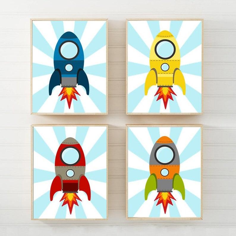 ROCKET SHIP Wall Art Baby Boy Space Nursery Decor Rocket Big | Etsy