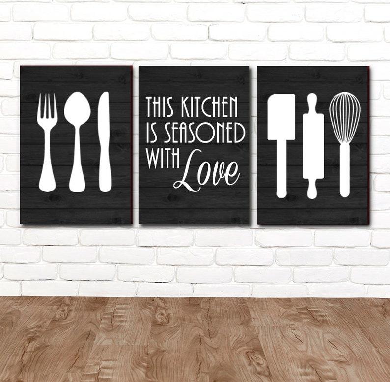 Kitchen Wall Art Canvas Or Prints Utensil Wall Decor Kitchen Etsy