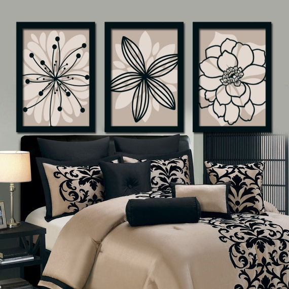 Beige And Black Bedroom Ideas: Beige Black Wall Art Bedroom Canvas Or Prints Bathroom Decor