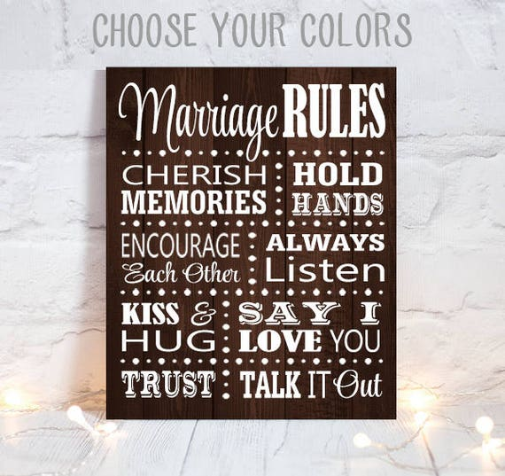 MARRIAGE RULES Sign Wedding Decor Canvas Or Print Marriage