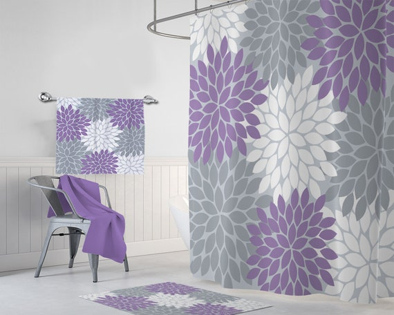 Purple Gray Flower SHOWER CURTAIN Lavender Bathroom Decor Shared Girl Custom MONOGRAM Personalized Towel Mat Set