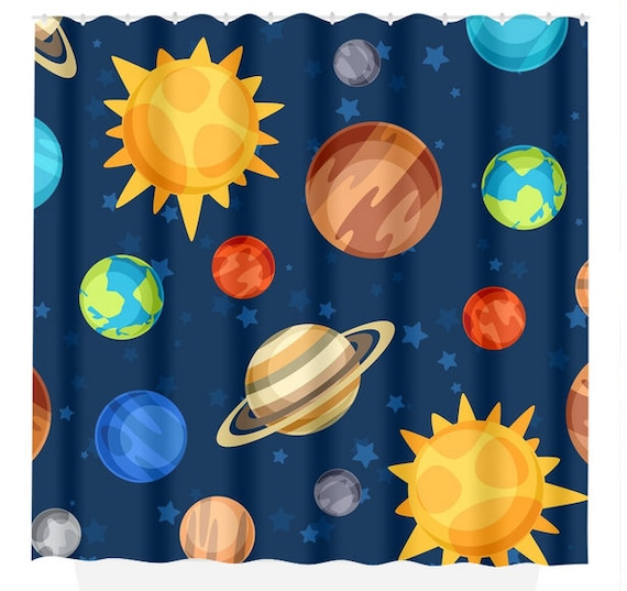 Planet SHOWER CURTAIN Outer Space Bathroom Decor