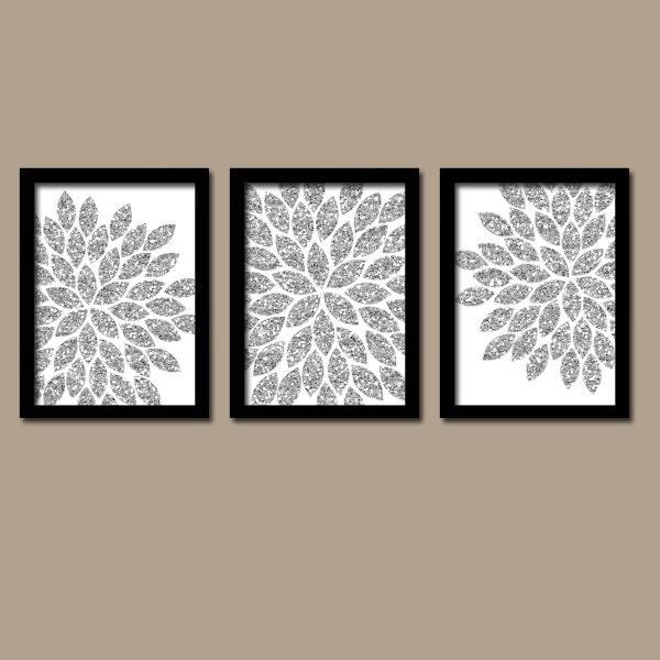 Flower Wall Art Silver GLITTER Flowers Wall Art Glitter | Etsy