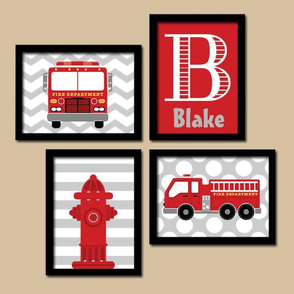 FIRE TRUCK Wall Art Fire Truck Nursery Decor CANVAS or | Etsy