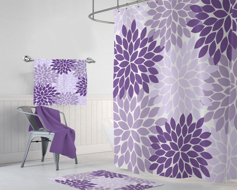 Purple Flower SHOWER CURTAIN Lavender Bathroom