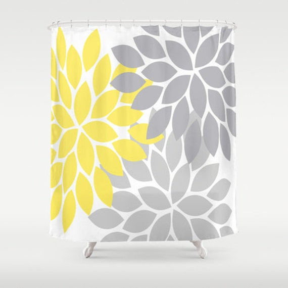 Yellow Gray SHOWER CURTAIN Custom MONOGRAM Personalized Bathroom Decor Flower Burst Pattern Bath Towel Mat Made Usa